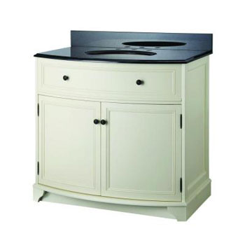 Foremost ARAAT3734 Arcadia 37-1/4 in. Vanity in Vanilla Cream with Black Granite Vanity Top and Sink - Biscuit