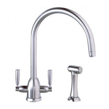 Franke ATO-400 Atrioflow Oberon Single Hole Two Handle Kitchen Faucet with Side Spray - Polished Chrome