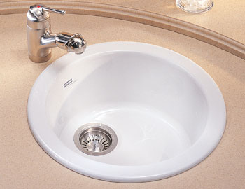 Franke LBK-610-GB Fireclay Luna Single Bowl Drop-In Kitchen Bar Sink - Glossy Black (shown in white)