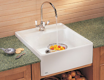 Franke MHK-710-24-BT Fiireclay Single Bowl Farmhouse with Apron Kitchen Sink - Biscuit (shown in white)