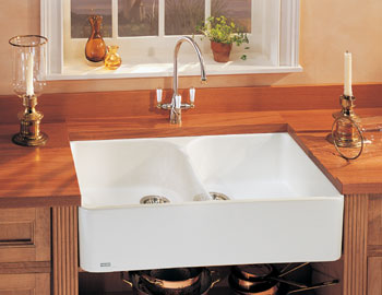 Franke MHK-720-31 Fireclay Double Bowl Farmhouse with Apron Kitchen Sink - White