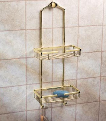 Gatco 1476 Premier Shower Caddy - Polished Brass - FaucetDepot.com