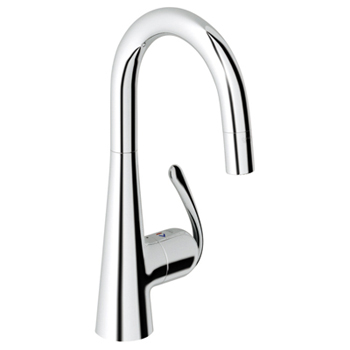 Grohe 32.283.00E Ladylux3 WaterCare Prep Sink Dual Spray Pull-Down Faucet - Chrome