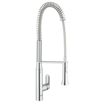 Grohe 3295100E K7 Kitchen Faucet Single Handle with High Arc Pull Down Spray - Starlight Chrome