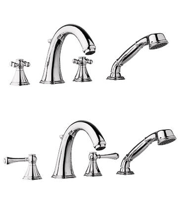 25.506.BE0 Grohe Geneva Roman Tub Filler with Personal Hand Shower - Infinity Sterling (Pictured w/Handles -- Not Included)