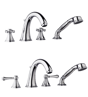 Grohe 25.506.000 Geneva Roman Tub Filler with Personal Hand Shower - Chrome (Pictured w/Handles -- Not Included)
