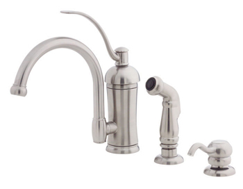Price Pfister GT34-PHAS Amherst Single Handle Kitchen Faucet with Sidespray and Soap Dispenser Stainless Steel