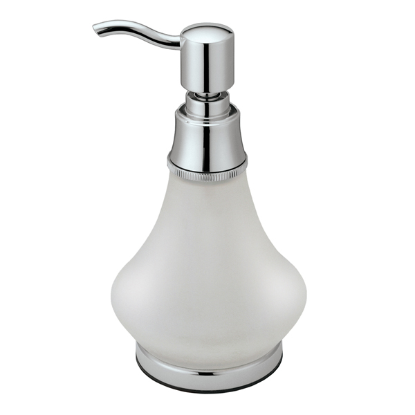 Gatco GC1487 Frosted Glass Countertop Soap Dispenser - Chrome