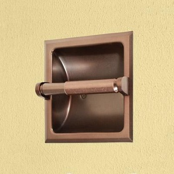 Gatco 784 Recess Square Toilet Paper Holder Burnished Bronze