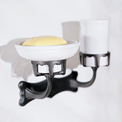 Ginger 0716/SN Porcelain Soap Dish w/Tumbler Combination - Satin Nickel (Pictured in Oil Rubbed Bronze)