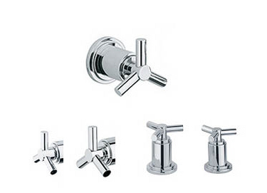 Grohe 18.026.BE0 Atrio Trio Spoke Handles - Sterling (Pictured in Chrome)