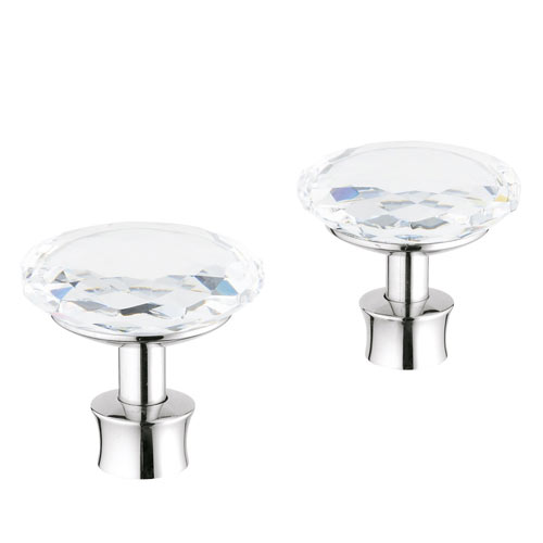 Grohe 18.086.VP0 Kensington Swarovski Crystal Cross (Knob) Handles, Pair - Chrome