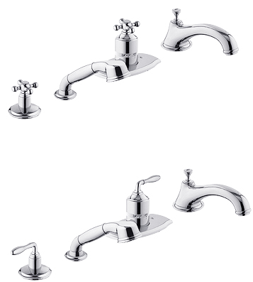 Grohe 19.045.RR0 Seabury Thermostatic Roman Tub Filler with Hand Shower - Velour Chrome/Chrome (Pictured w/Handles  Not Included)