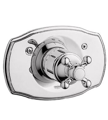 Grohe 19.615.BE0 Geneva Thermostat Shower Valve Trim with Cross Handle - Infinity Sterling