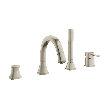 Grohe 19936EN0 Grandera Deck Mounted Roman Tub Faucet Trim with Personal Hand Shower - Brushed Nickel