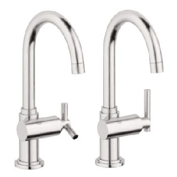 Grohe 20.074.EN0 Atrio Basin/Pillar Tap - Infinity Brushed Nickel (Pictured w/Handle  Not Included)