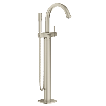 Grohe 23318EN0 Grandera Single Handle Floor Mounted Tub Filler   Brushed  Nickel
