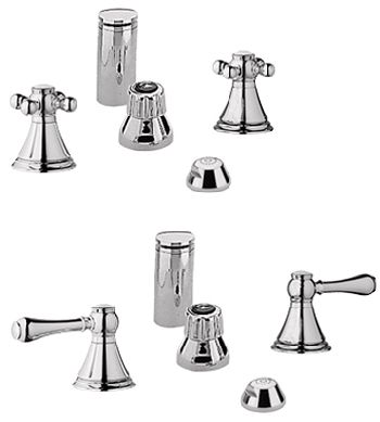 Grohe 24.019.BE0 Geneva Wideset Bidet Faucet - Infinity Sterling (Pictured w/Handles  Not Included)