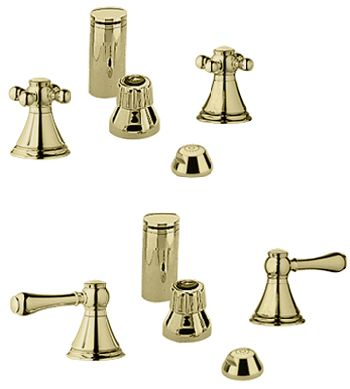 Grohe 24.019.R00 Geneva Wideset Bidet Faucet - Infinity Polished Brass (Pictured w/Handles  Not Included)