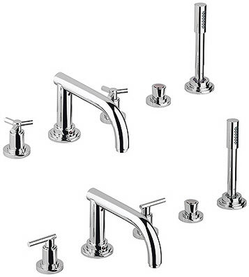 Grohe 25.049.000 Atrio Roman Tub Filler with Hand Shower - Chrome (Pictured w/Handles -- Not Included)