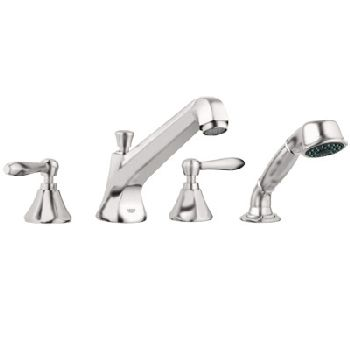 Grohe 25.077.EN0 Somerset Roman Tub Filler with Personal Hand Shower - Infinity Brushed Nickel (Pictured w/Handles  Not Included)