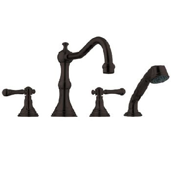 Grohe 25.080.ZB0 Bridgeford Roman Tub Filler w/Personal Hand Shower - Oil Rubbed Bronze (Pictured w/Handles  Not Included)
