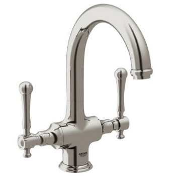 Grohe 31055ENE Bridgeford High Profile Dual Handle Bar Faucet - Infinity Brushed Nickel (Pictured w/Lever Handles Not Included)
