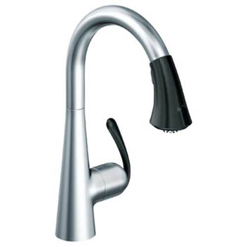 Grohe 32.298.KD0 Ladylux3 Cafe Dual Spray Pull-Down Kitchen Faucet - Stainless Steel/Black