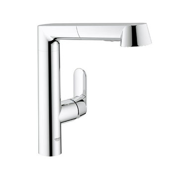 Grohe 32 178 000 K7 Single Handle Kitchen Faucet with Pull Out Spray - Starlight Chrome