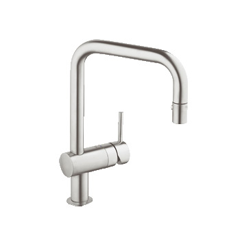 grohe 32319dc0 minta dual spray pullout kitchen faucet super steel - Grohe Kitchen Faucets