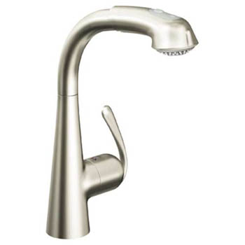 Grohe 33.893.DCE Ladylux3 Plus WaterCare Main Sink Dual Spray Pull-Out Kitchen Faucet - Super Steel
