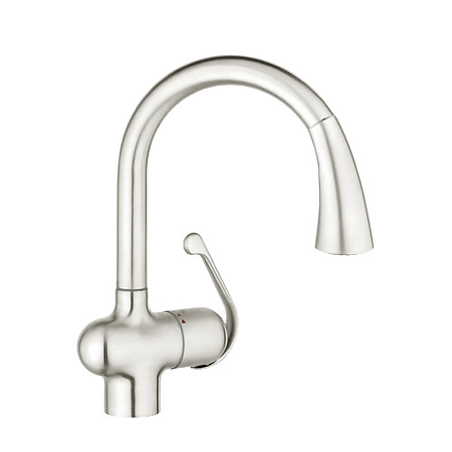 Grohe 33755SD1 Ladylux Dual Spray Pull Out Kitchen Faucet   Stainless Steel