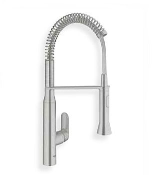 Grohe 31380DC0 K7 Pre Rinse Kitchen Faucet With Spring Spout U0026 Locking  Spray   SuperSteel