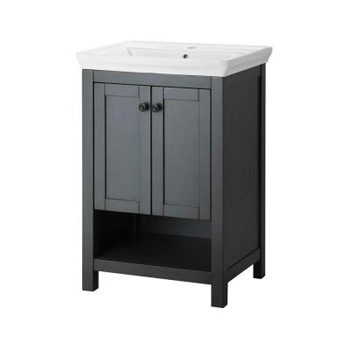 Foremost HAGOS2417 Hanley 22 in. Vanity and Vitreous China Sink in Charcoal Grey with Porcelain Vanity Top in White