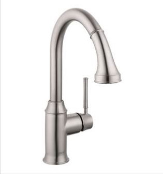 Hansgrohe 004215800 Talis C Higharc Pull Down Kitchen Faucet - Steel Optik (Pictured in Chrome)