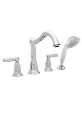 Hansgrohe 06046820 Tango 4-Hole Roman Tub Filler with Hand Held Shower (Trim Only) - Brushed Nickel (Pictured in Chrome)