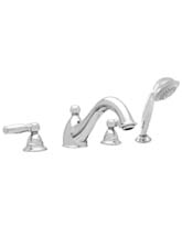 Hansgrohe 06110820 Limbo 4-Hole Roman Tub Filler with Handshower (Trim Only) - Brushed Nickel (Pictured in Chrome)