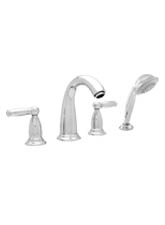 Hansgrohe 06123820 Swing C 4-Hole Roman Tub Filler with Handshower (Trim Only) - Brushed Nickel (Pictured in Chrome)