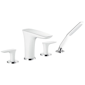 Hansgrohe 15446401 PuraVida 4-Hole Roman Tub Set Trim - White/Chrome
