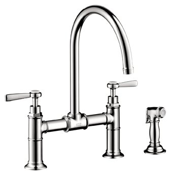 Hansgrohe 16818001 Axor Montreux Kitchen Bridge Faucet with Side Spray and Lever Handles - Chrome