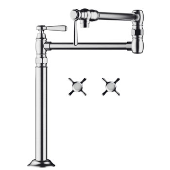 Hansgrohe 16860821 Axor Montreux Deck-Mounted Pot Filler - Brushed Nickel (Pictured in Chrome)