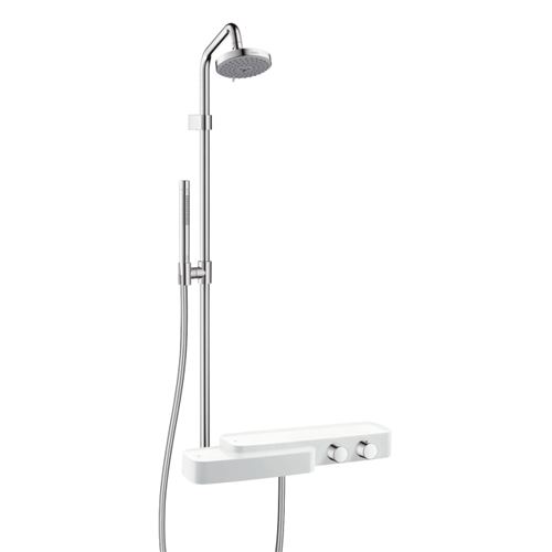 Hansgrohe 19670401 Axor Bouroullec Thermostatic Showerpipe with Shelf and Handshower - White/Chrome