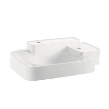 Hansgrohe 19942230 Axor Bouroullec Small Wall-Mounted Washbasin with Two Shelves 2 Hole - Alpine White