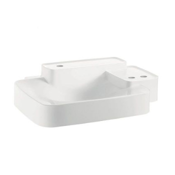 Hansgrohe 19942330 Axor Bouroullec Small Wall-Mounted Washbasin with Two Shelves 3 Hole - Alpine White