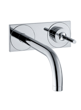 Hansgrohe 38117821 Axor Uno Wall Mounted Lavatory Faucet with Base Plate - Brushed Nickel (Pictured in Chrome)