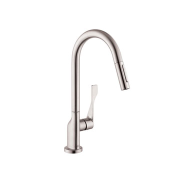 hansgrohe 39835801 axor citterio kitchen faucet with 2 spray pull out steel optik. Black Bedroom Furniture Sets. Home Design Ideas