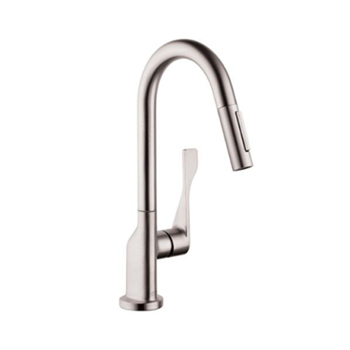 hansgrohe axor citterio prep single handle pull down kitchen faucet steel optik - Hansgrohe Faucets