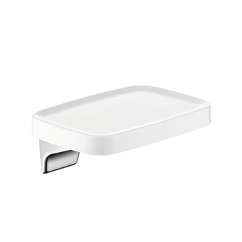 Hansgrohe 42671400 Axor Bouroullec Small Wall-Mounted Shelf - White/Chrome