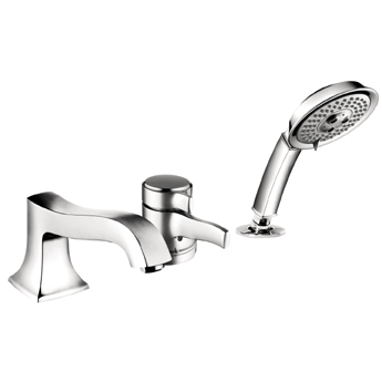 Hansgrohe 04132920 Metris C Trim 3-Hole Thermostatic Tub Filler With Handshower - Rubbed Bronze (Pictured in Chrome)