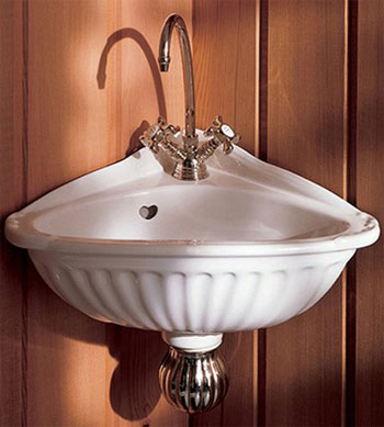 Herbeau 0106-20 Carline Vitreous China Corner Sink - White